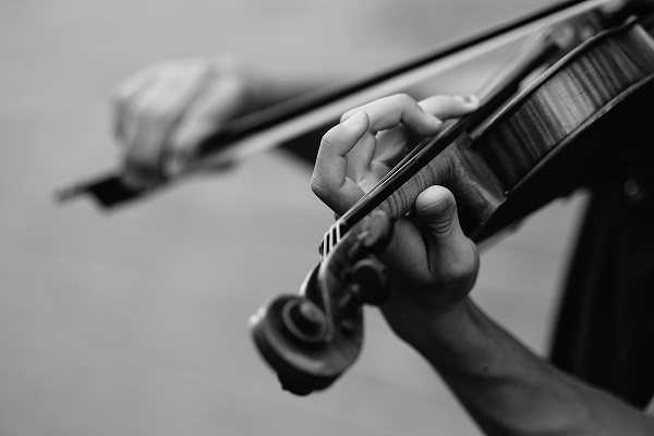 closeup grayscale image of a persons hands playing a violin